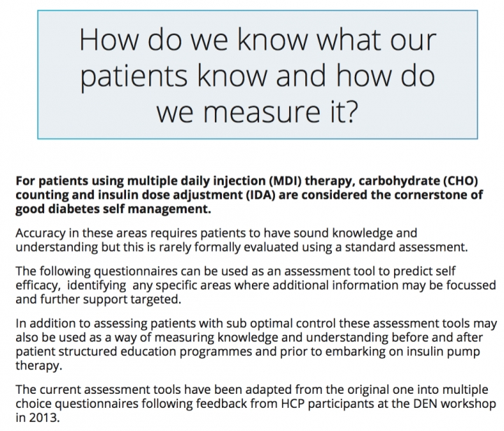 Carb counting & dose adjustment assessment tool for people with diabetes