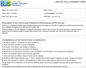 New CDEP reflective learning form