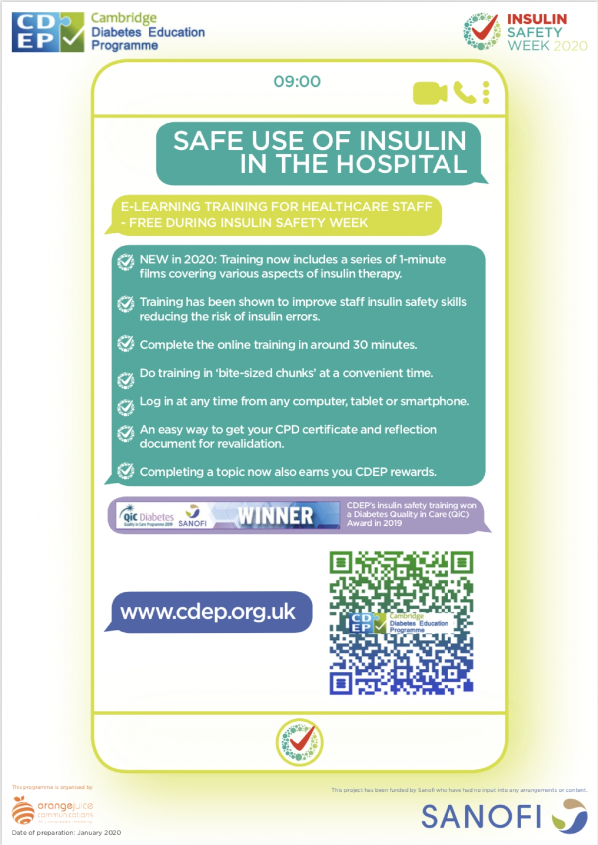 CDEP's Insulin Safety Training shortlisted for prestigous HSJ Patient Safety Awards